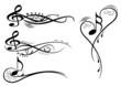 Noten und notenschlüssel mit floral elementen