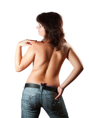 Rear view of topless  girl