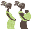 .Beautiful women silhouettes. Pregnant woman and mother with bab