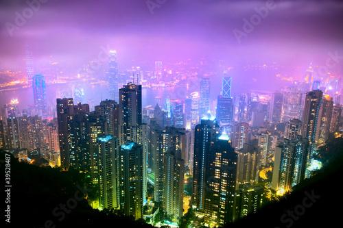 Obraz na Szkle Hong Kong Nght View