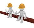 Two construction worker having breakfast