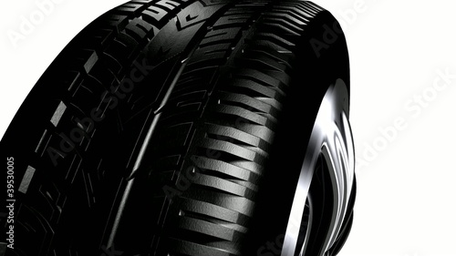 tire and wheel on a white background