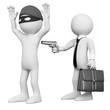 3D businessman robbing a robber