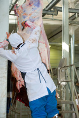 the process of skinning a cow
