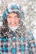 Out of focus picture of a woman with a lot of snowflakes