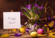 vintage Easter card, spring flowers on a wooden background