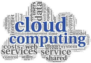 Cloud computing concept in word tag cloud
