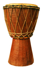 Traditional djembe isolated on white background