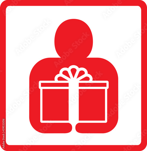 red sign with man silhouette and box symbol shopping