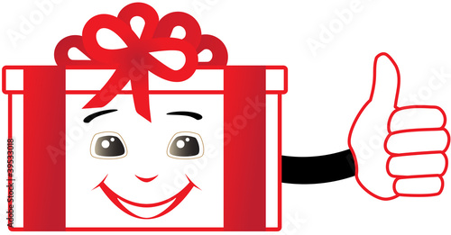 cartoon isolated box showing thumb up and smile