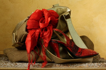 Stylish woman's bag with a red scarf and shoes