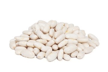 Pile Great Northern Beans isolated on white background.