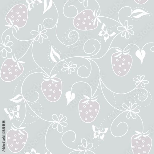 vector seamless wild strawberry pattern