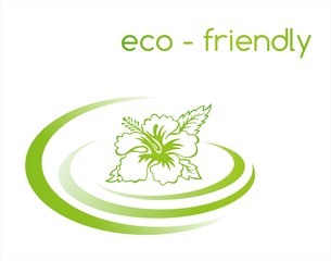 Hibiscus, green Eco friendly business logo design