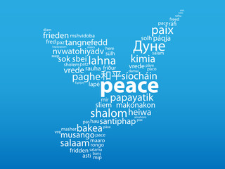 """PEACE"" Tag Cloud (white dove symbol hope friendship war)"