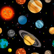 Seamless pattern with planets