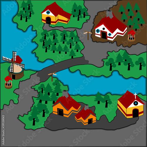 Foto op Plexiglas Op straat Cute illustration of a village