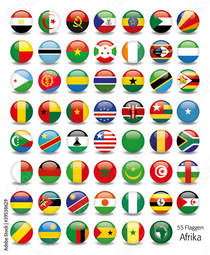 Afrika Flaggen Fahnen Set Buttons Icons Sprachen 1