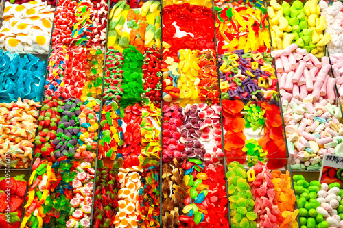 Assorted candyin a market, barcelona, spain.