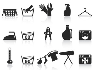 black laundry icons set