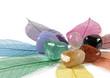 Leinwandbild Motiv Close up of gemstones on colour leaves