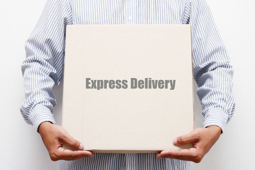 Man hold brown paper box,Express Delivery