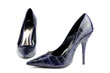 Blue women shoes, crocodile leather