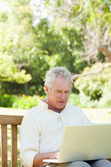 Man looking at something on a laptop while sitting on a bench
