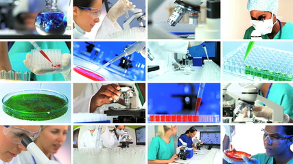 Multiple Montage Images of Scientific Medical Research