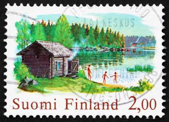 Postage stamp Finland 1977 Chimneyless Log Sauna