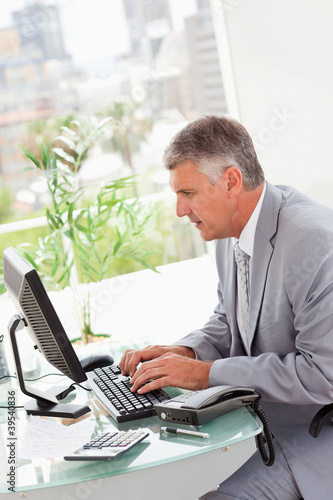 Businessman on his computer