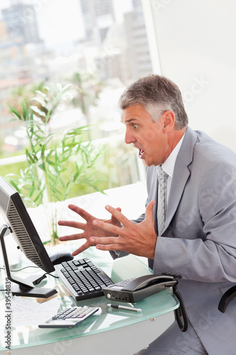 Businessman losing all his files on his computer