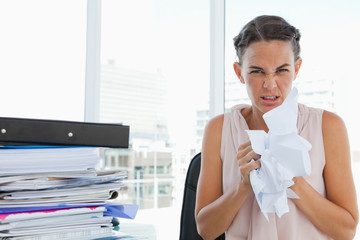 Woman with too much work goes crazy