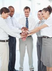 Smiling tradesteam doing teamwork gesture