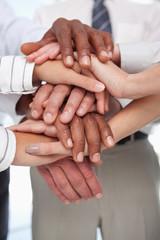 Hands put together for teamwork gesture