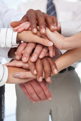 Hands put together for teamwork gesture