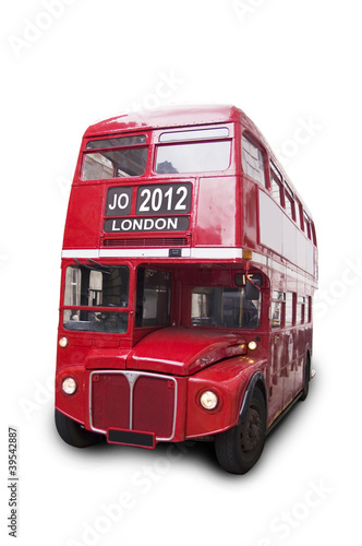 Bus rouge isolé fond blanc 2012 London
