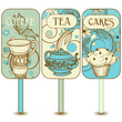 Coffee, tea, cupcakes labels