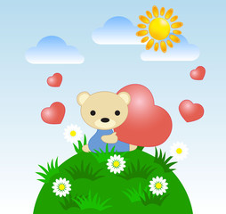 greeting card with a teddy bear and heart