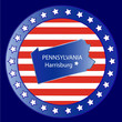 Pennsylvania state map seal stamp usa