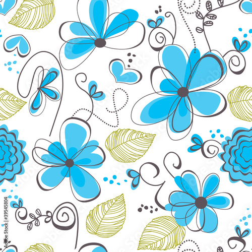 In de dag Abstract bloemen Floral seamless pattern