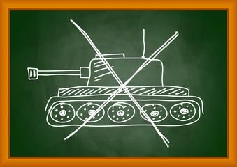 Drawing of tank on blackboard