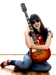 Young Woman Holding Guitar. Model Released