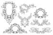 Vintage set of baroque frame and elements
