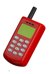 old mobile cell phone red simple cartoon stylized