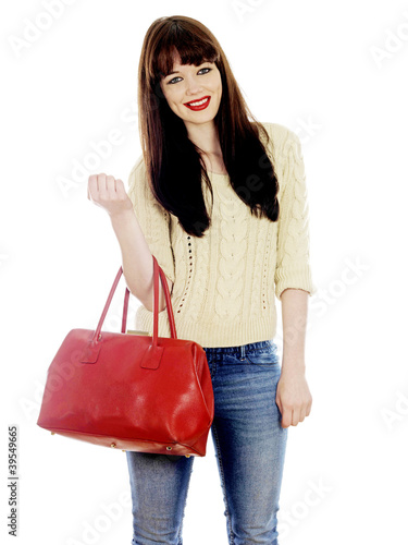Young Woman Holding a Red Handbag. Model Released