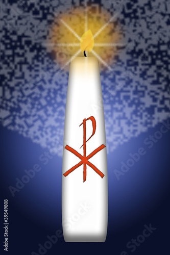 Burning easter candle symbol for jesu resurrection