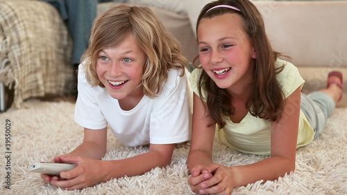 Children watching the television
