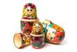 canvas print picture - Russian Babushka or Matryoshka Dolls on white background
