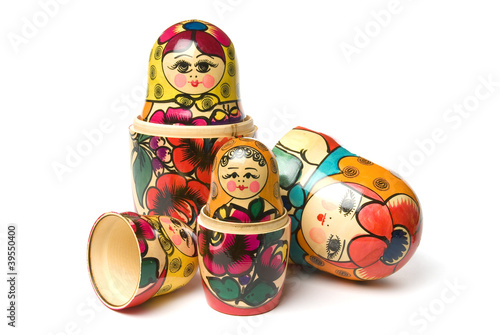 Russian Babushka or Matryoshka Dolls on white background - 39550400